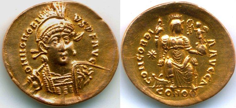 Un solidus de Theodose HonoriusSolidus-RIC201-A