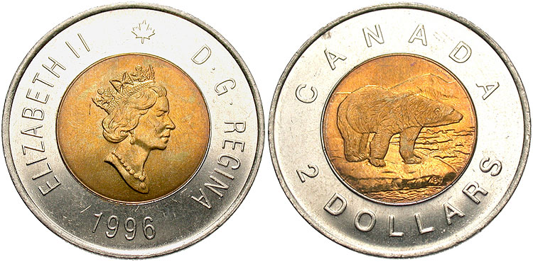 Canada, 2 Dollars, 1996. Alternating reeded and plain edge