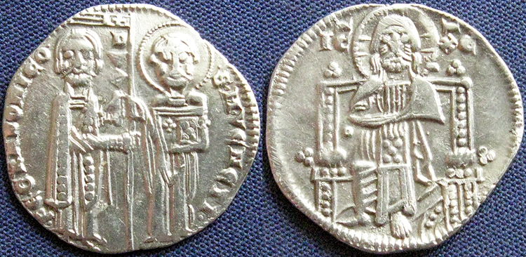 Christ   1275-1280 AD 2.1 g 19 mm Jesus image Venice Italy silver Grosso of Contarini S Marco Doge