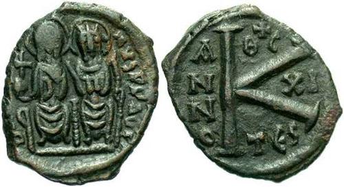 20 nummi de Justino II y Sofía Z2680
