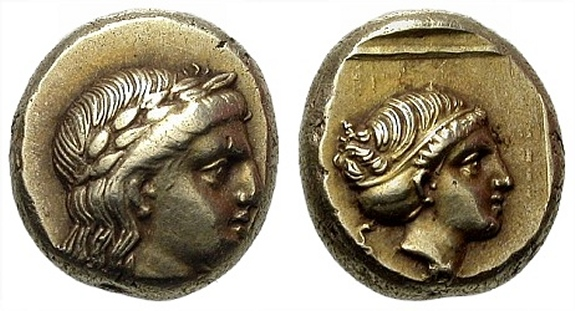 Ancient Greece 400-350 Bc Lesbos Mytilene Silver Diobol Apollo Aphrodite Greek (450 Bc-100 Ad) Coins: Ancient