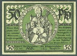 1 MARK 1921 EMERGENCY MONEY GERMANY 50 PFENNIG 10225 BENTHEIM NOTGELD 10 25
